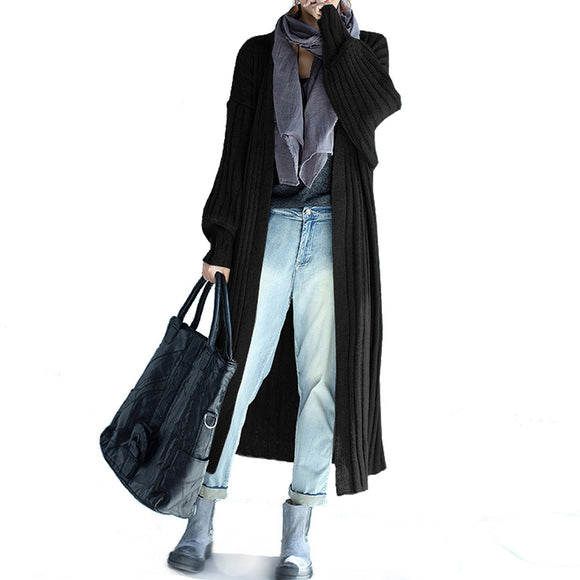 Long Ribbed Knit Cardigan - AmtifyDirect