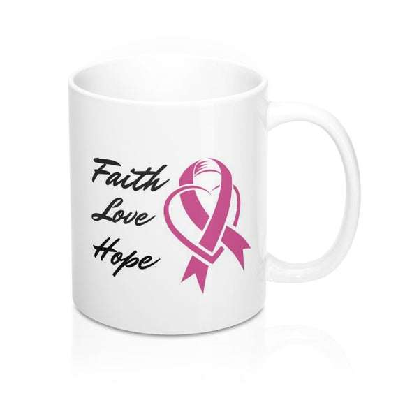 Faith Love Hope Pink Ribbon Awareness Mug