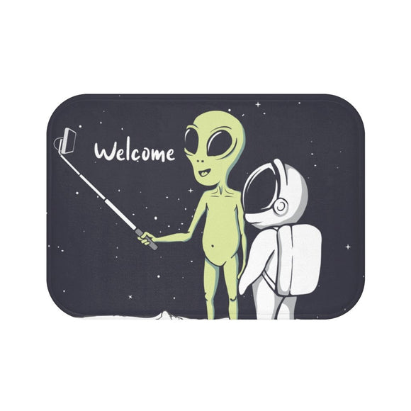 Alien Taking Selfie Bath Mat