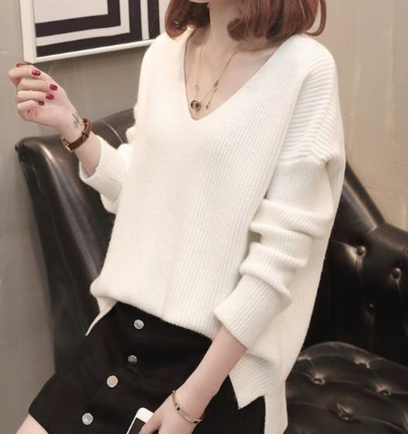 Womens white acrylic blend long sleeve casual V Neck Sweater - AmtifyDirect