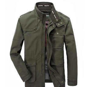Mens Stand Up Collar Mid Length Jacket