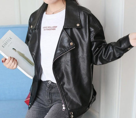 womens black faux leather vegan friendly biker jacket - AmtifyDirect