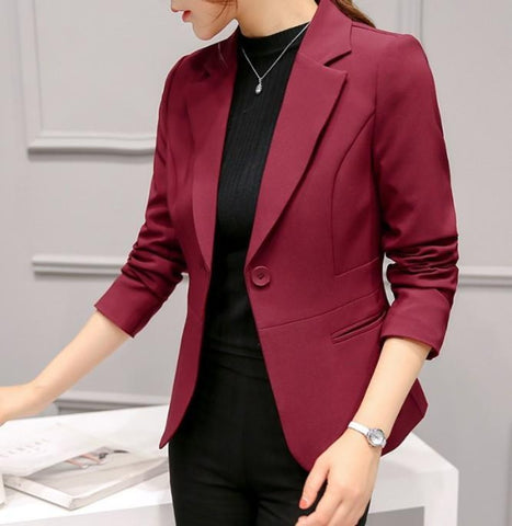 womens red polyester vegan friendly one button slim fit blazer - Amtify Direct