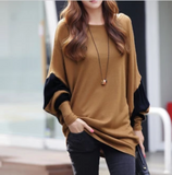 Womens Two Tone Batwing Casual Top