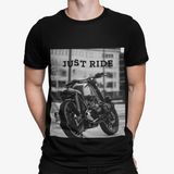 mens black cotton motorcycle graphic tee shirt - AmtifyDirect