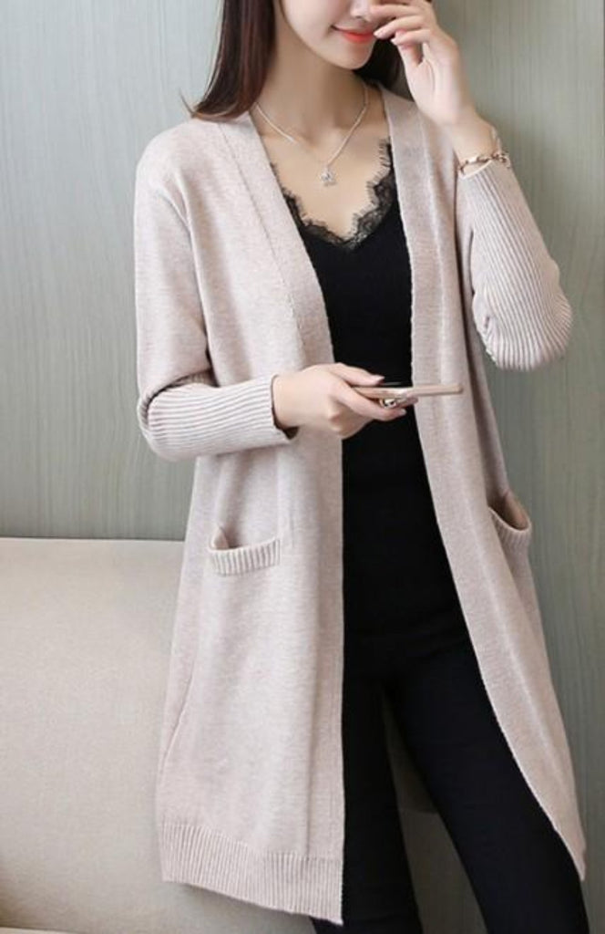 Womens Mid Length Open Cardigan with Pockets