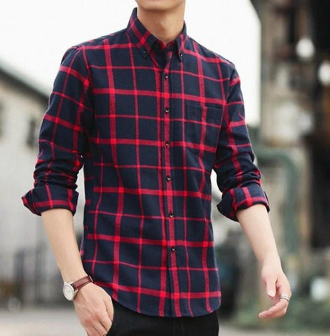 Mens Button Down Plaid Shirt
