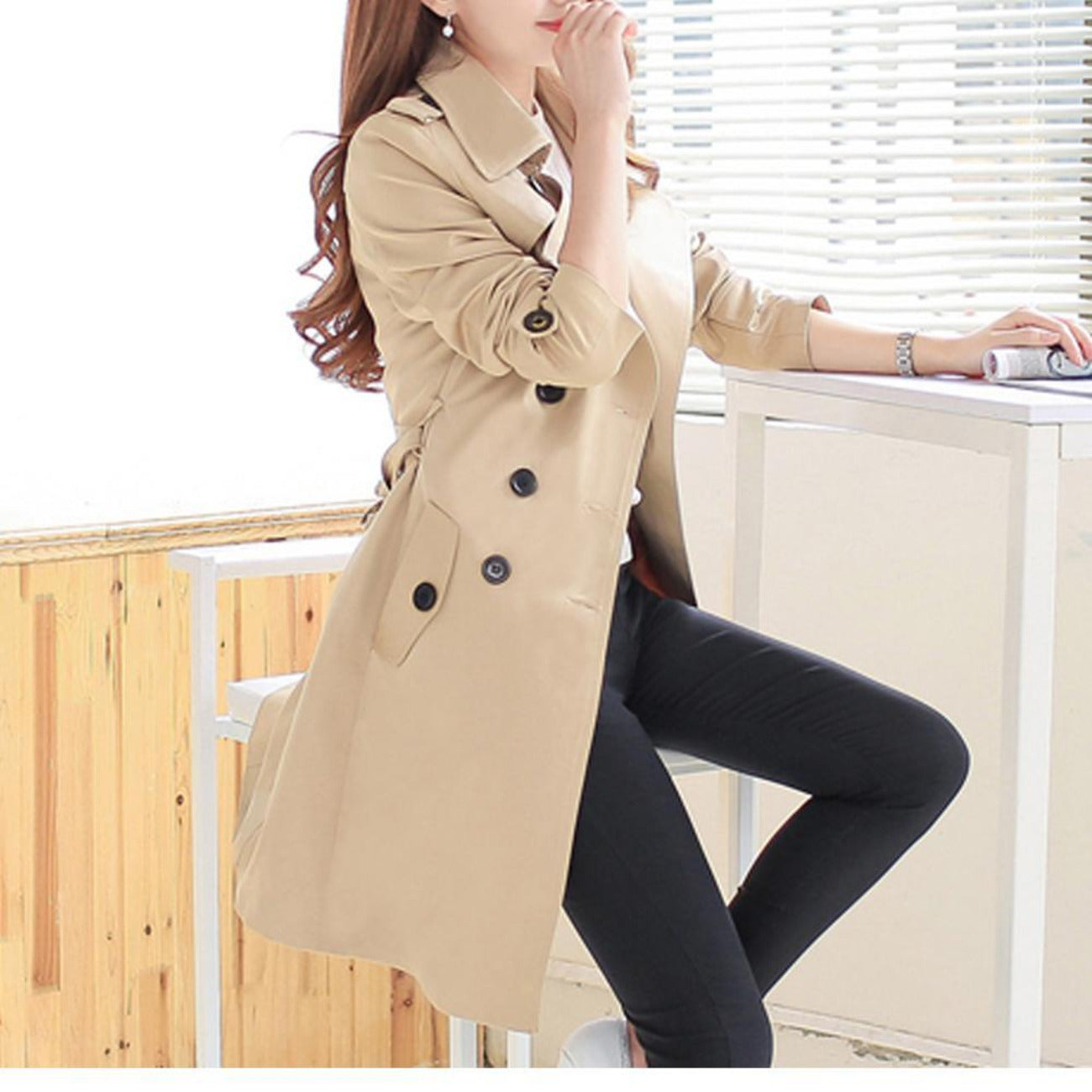 Womens Classic Double Breasted Slim Fit Trench Coat Amtify Shop women's trench coats at berrylook.com. usd