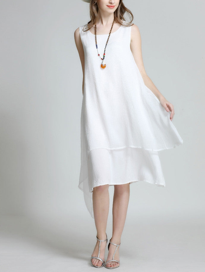 Womens Layered Sleeveless Summer Dress