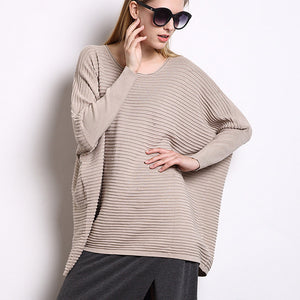 Womens Loose Fit Batwing Sweater Top