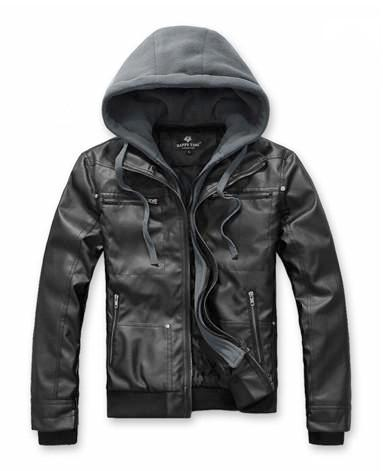 Men's PU Leather Jacket with Removable Hood - AmtifyDirect