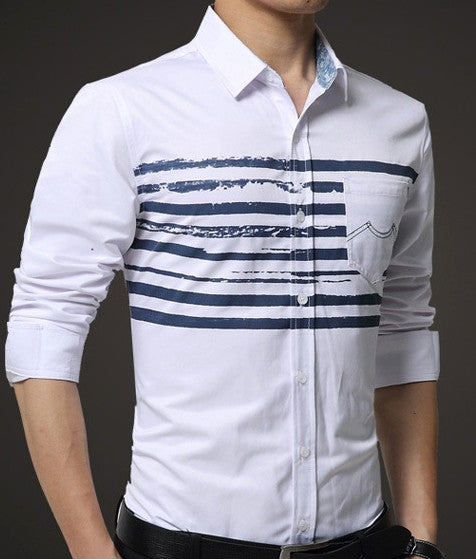 Mens Button Down Shirt with Stripes
