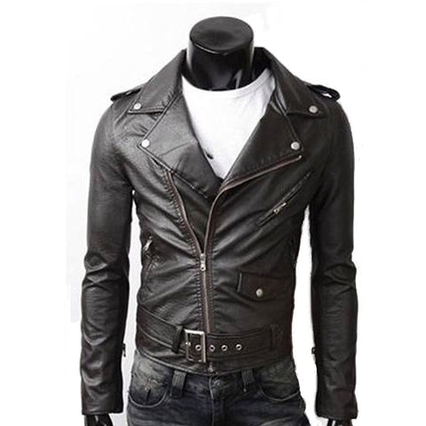 Mens PU Leather Biker Jacket with Zipper Detail - AmtifyDirect