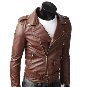 Mens PU Leather Biker Jacket with Zipper Detail
