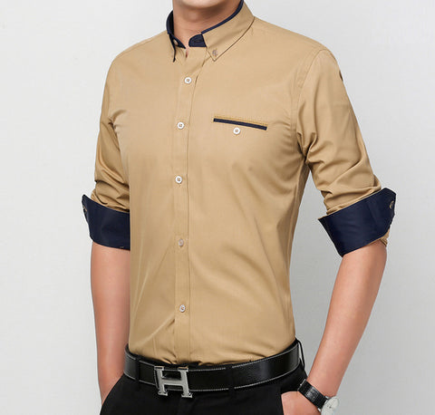 Mens Button Down Shirt with Double Collar - AmtifyDirect