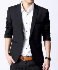 Mens Black Blazer with Faux Leather Details - AmtifyDirect