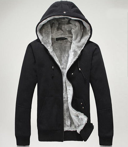 Mens black Casual Hooded Jacket with Faux Fur Lining - AmtifyDirect