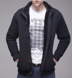 Men's Ribbed Gray Cardigan with Inner Fur