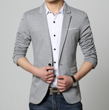 mens grey polyester vegan friendly trendy one button blazer - AmtifyDirect