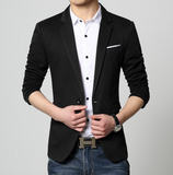 Mens black polyester vegan friendly Slim Fit Casual Blazer - AmtifyDirect