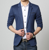 Mens blue polyester vegan friendly one button Slim Fit Casual Blazer - AmtifyDirect