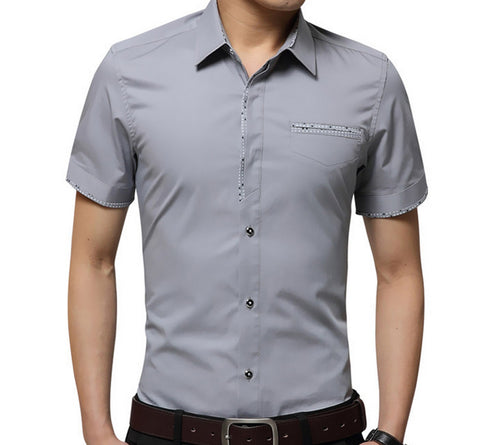 Mens Short Sleeve Shirt With Polka Dot Details