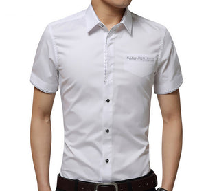 Men's Casual Short Sleeve Shirt With Pocket Design - AmtifyDirect