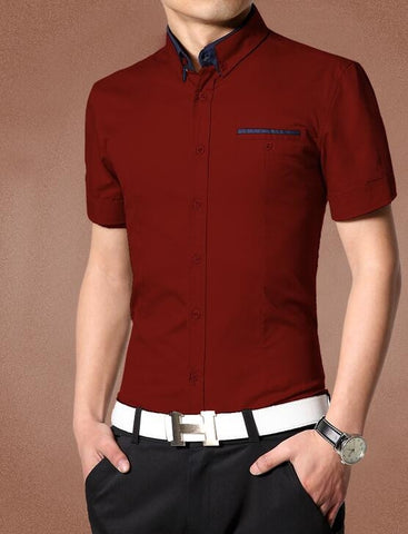 Men's Casual Short Sleeve Shirt With Pocket Design