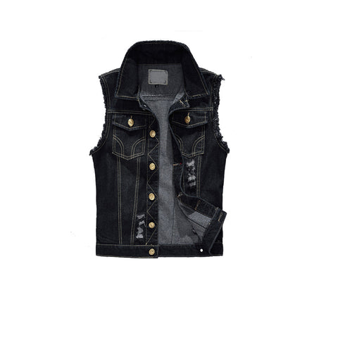 Mens Black Denim Vest - AmtifyDirect