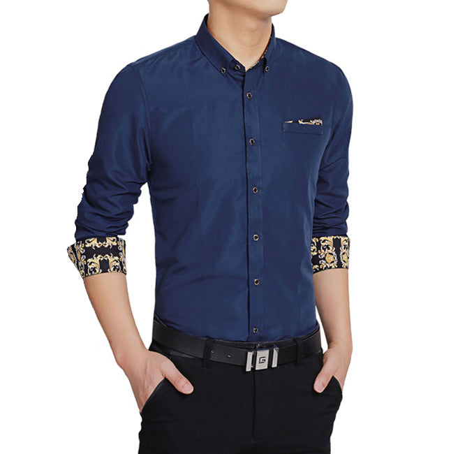 Mens Long Sleeve Shirt with Floral - AmtifyDirect