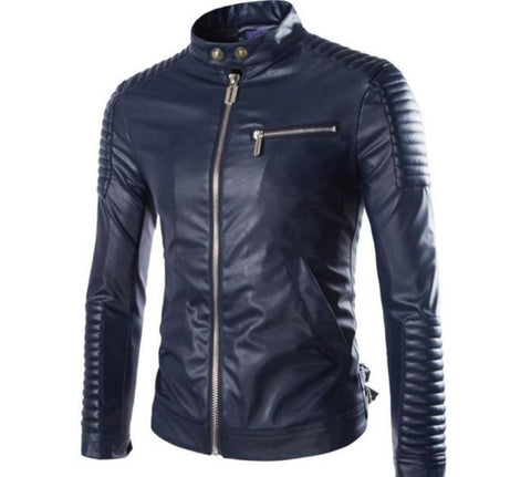 Men Motorcycle PU Leather Jacket