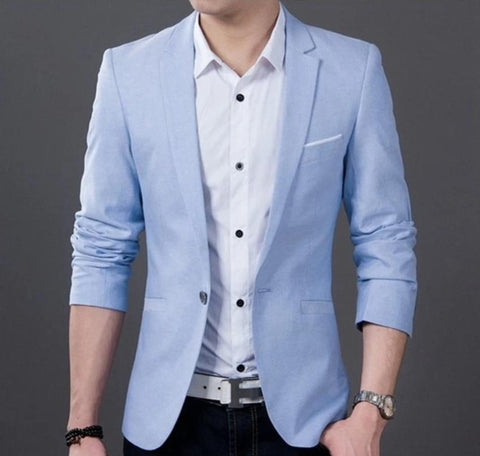 SALE Mens Blue Casual Fitted Blazer - AmtifyDirect