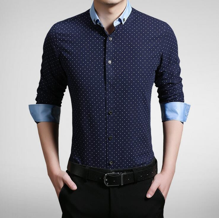 Mens Contrasting Collar Shirt - AmtifyDirect