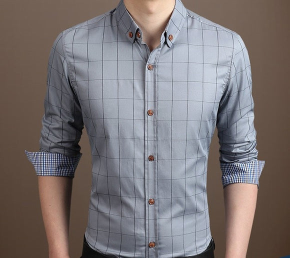 Mens Gray Cotton Blend Long Sleeve Plaid Shirt - AmtifyDirect