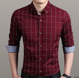 Mens Red Cotton Blend Long Sleeve Plaid Shirt - AmtifyDirect