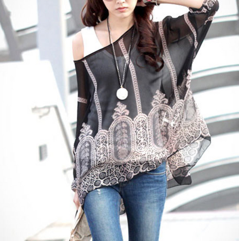 Womens Black Print Chiffon Top