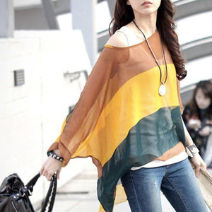 Womens Striped Chiffon Top