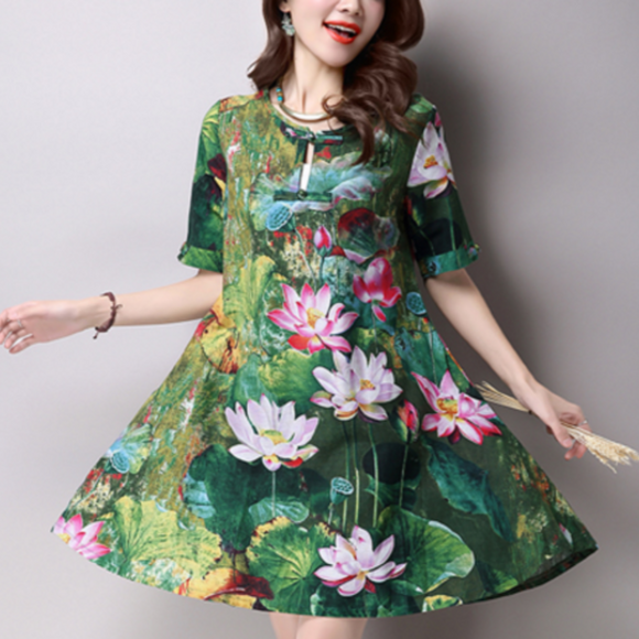 Casual Short Sleeve Floral Dress - AmtifyDirect