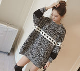 Womens Black Round Neck Sweater with Prints