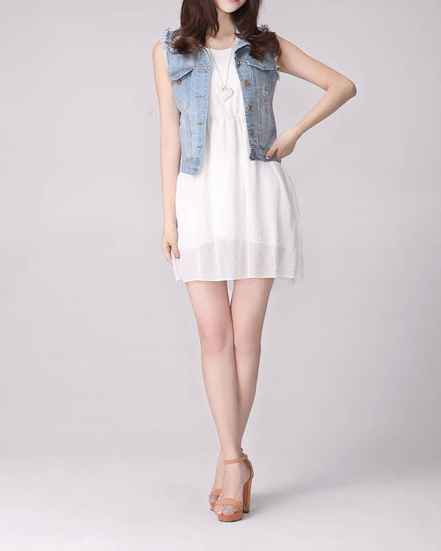 Womens Ripped Denim Vest - AmtifyDirect