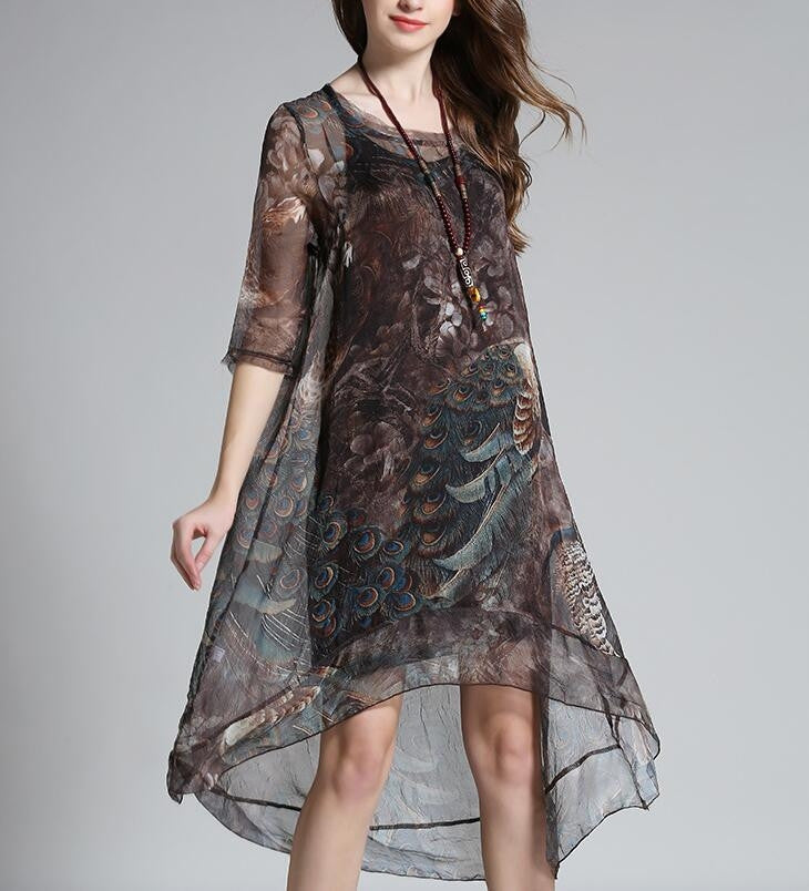 Womens Printed Tail Dress - AmtifyDirect