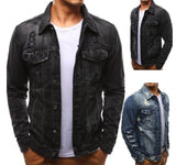 mens denim distressed jacket - AmtifyDirect