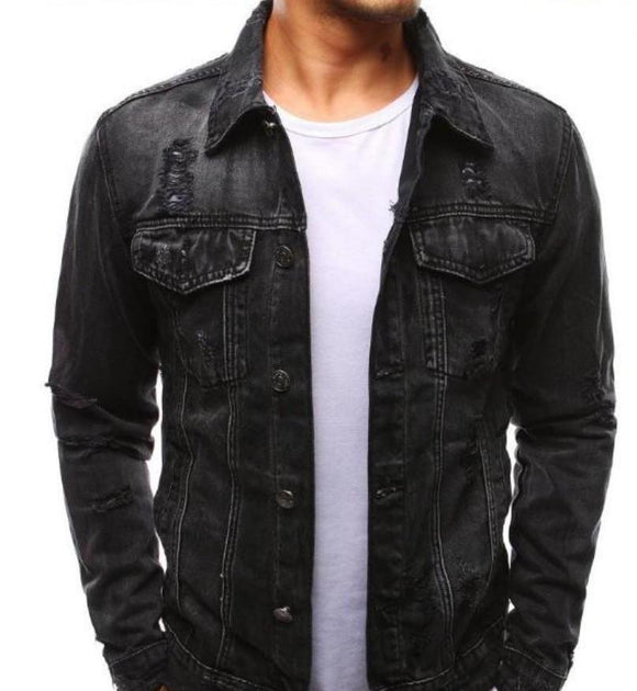mens black denim distressed jacket - AmtifyDirect