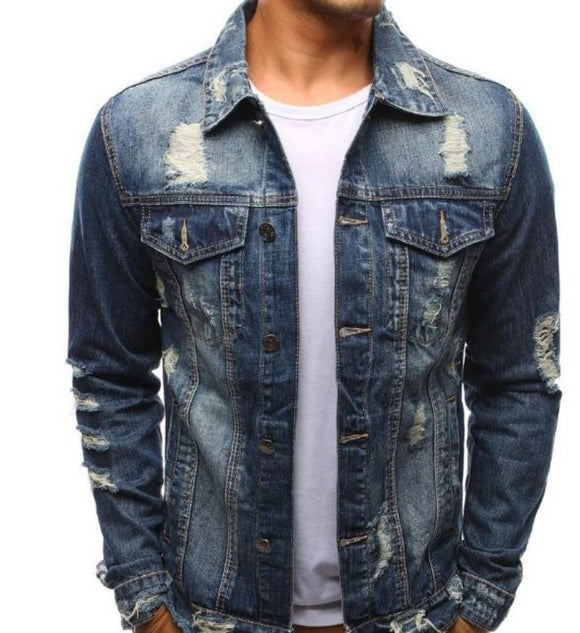 mens blue denim distressed jacket - AmtifyDirect