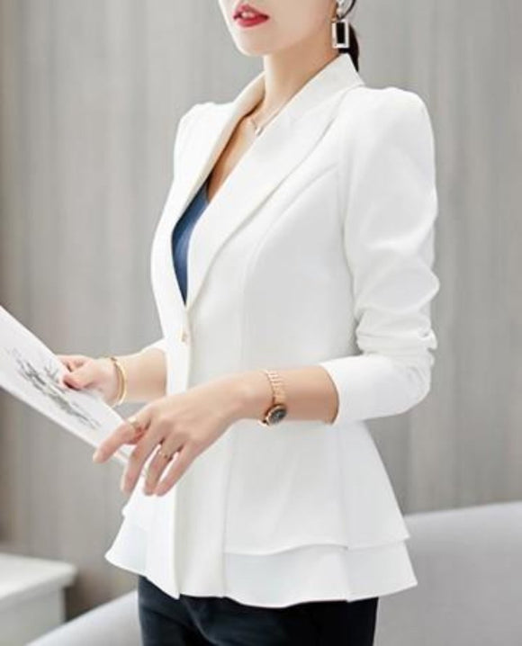 Womens One Button Design Slim Fit Cinch Waist Blazer