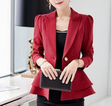 Womens One Buttom Design Slim Fit Cinch Waist Blazer