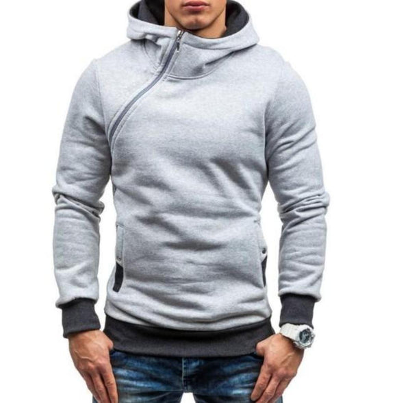 Mens gray polyester vegan friendly Hoodie with Side Zipper - AmtifyDirect