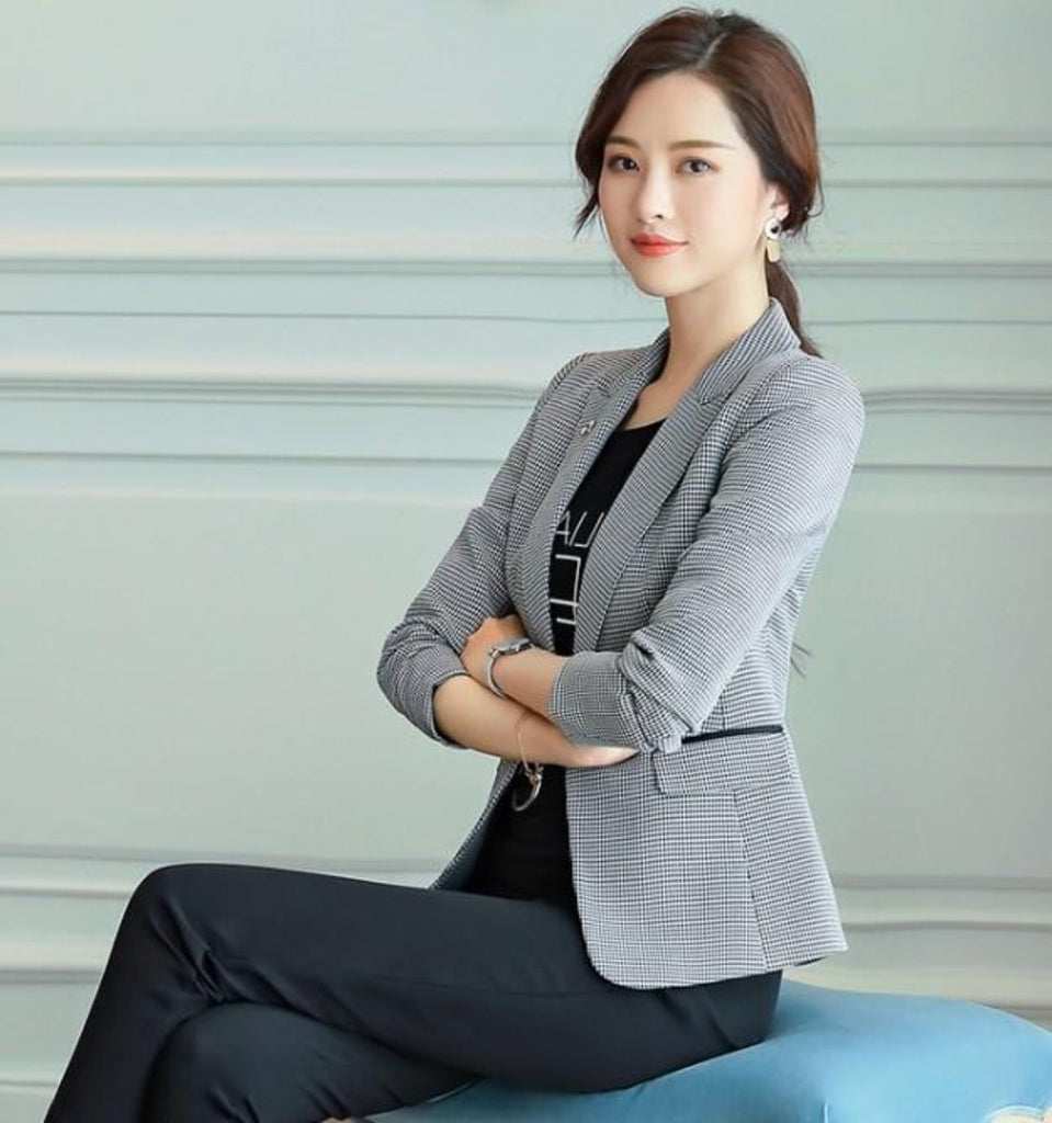 Womens One Button Houndstooth Blazer