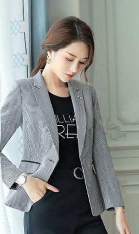 womens houndstooth cotton blend/polyester slim fit blazer - AmtifyDirect