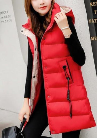 Womens High Collar Hooded Winter Vest
